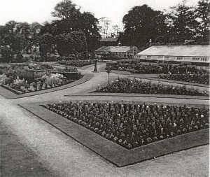 Post War Image of Walled Garden with Glasshouses in background
