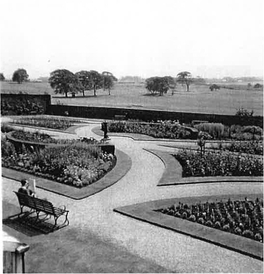 Post War Image of Walled Garden with views across Golf Course