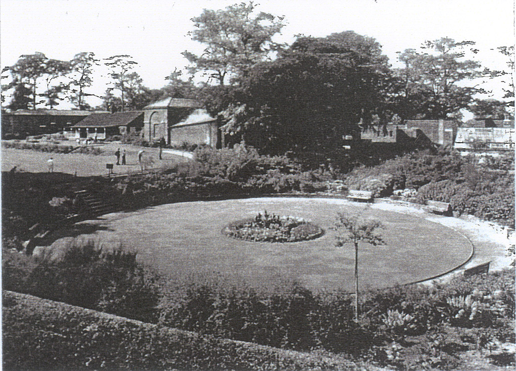 Post War view of Dell and Terrace Lawn with buildings in background
